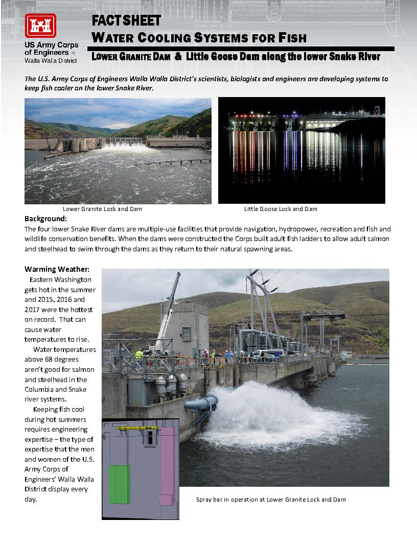 Factsheet. Water Cooling system for fish. Lower Granite Dam and Little Goose Dam along the lower snake river