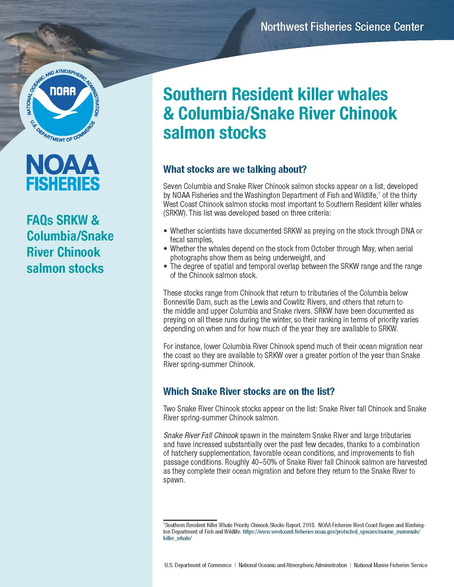 Southern Resident Killer Whales & Columbia/Snake River Chinook Salmon Stocks FAQs